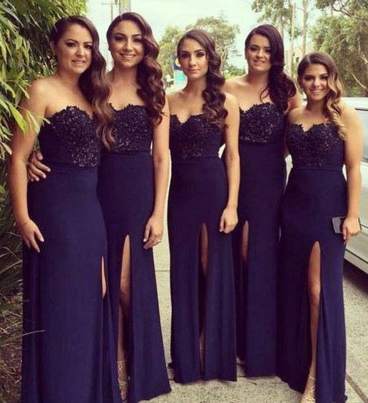 Elegant Navy Blue Bridesmaid Dresses Long Floor Lace Mermaid Beach Party  Dress Side Split Evening Dresses - 202 Best Bridesmaid Dresses Images On Pinterest Wedding