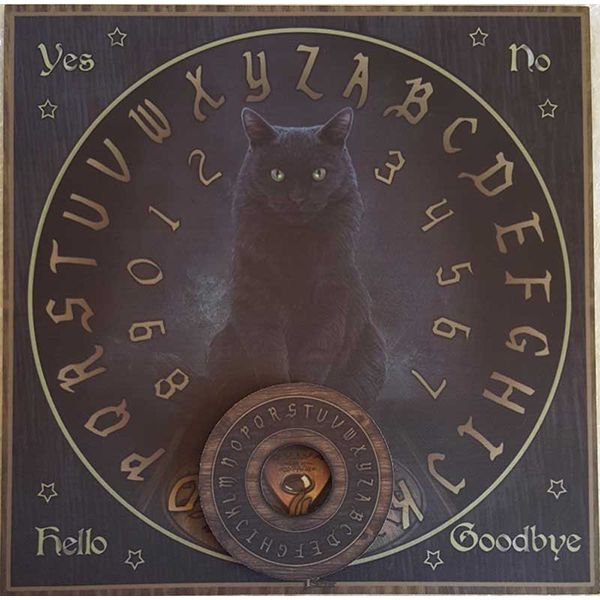 A grand black cat sits poised illustrated on this His Masters Voice Cat Ouiji Spirit Board. Designed by Lisa Parker, His Masters Voice is a board filled with mystical energy for messages, fortelling or even just Samhain or Halloween decoration. This ouiji board measures15″ x 15″.