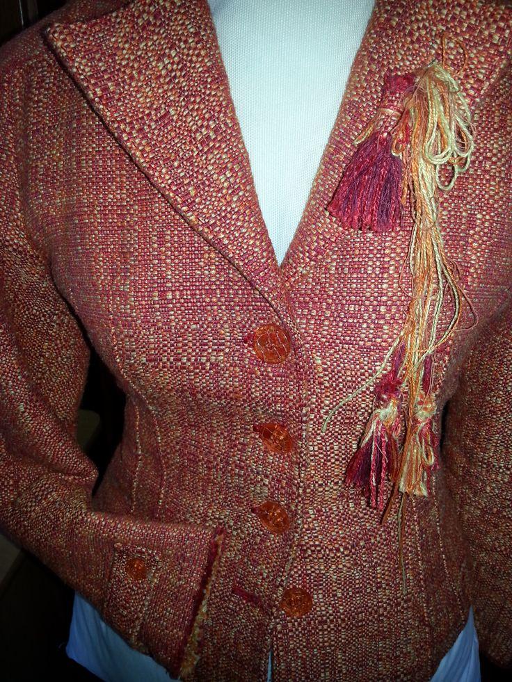 giacca in tessuto da tappezzeria con impunture in seta