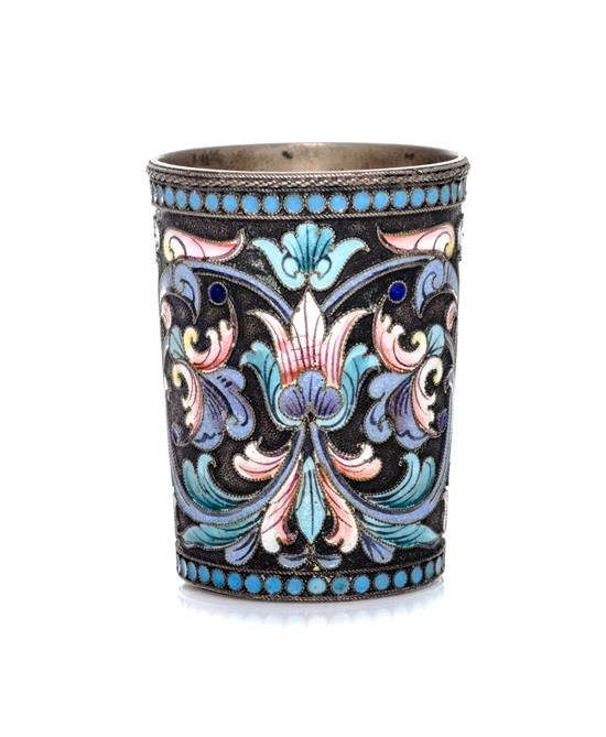 A Russian Silver and Enamel Liquor Glass, Moscow, 1908-1926, having polychr