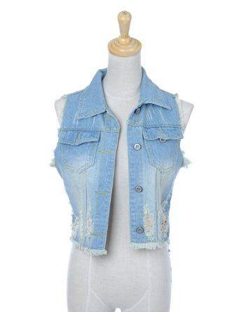 Anna-Kaci S/M Fit Light Washed Blue Denim Cropped Vest w Ripped Cut Off Sleeves Anna-Kaci. $18.00