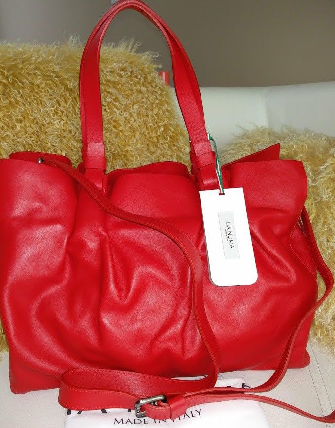769f58f2dc Lia Numa Red Leather Handbag Shoulder Bag Women NWT Made In ITALY  LiaNuma   Satchel