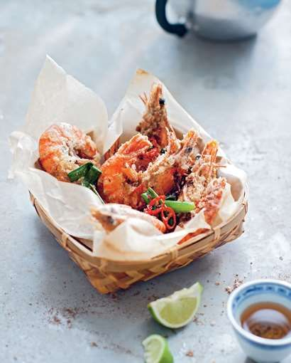 Salt and pepper tiger prawns recipe from The Food of Vietnam by Luke Nguyen   Cooked