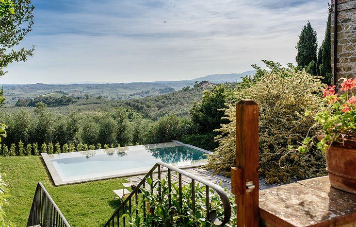 Casa Nova - this majestic villa sits on the hillside overlooking the pretty little town of Vinci in Tuscany. Sleeps 12.  #tuscany #luxuryvilla #familytravel #visititaly #visittuscany #familyholidays