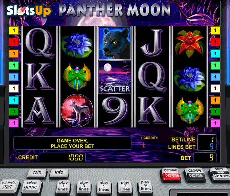 Make friends with a panther and find hidden jungle treasures in Panther Moon #freeslot! The action of this 5-reel, 9-payline Novomatic slot takes place in the night jungles full of owls, butterflies, hyenas, and panthers. Check out beneficial features of Panther Moon game, such as Wild, Scatter symbols, Free Spins with the 3x Multiplier and the Gamble Round while playing it for free at www.SlotsUp.com