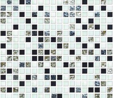 Mozaic Sticla Piatra Alb Negru Albastru. Bad Inspiration KreuzworträtselRätsel