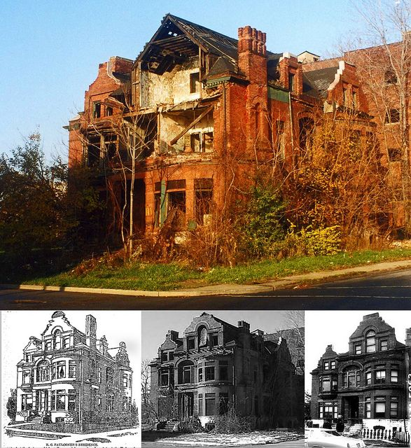111 Watson Street, The Faulconer House, Brush Park, Detroit, Michigan, USA.  Color photo taken in 2001...Since that time the house has been demolished. Hundreds of Detroit's mansions have suffered the same fate. The end of a gracious era.