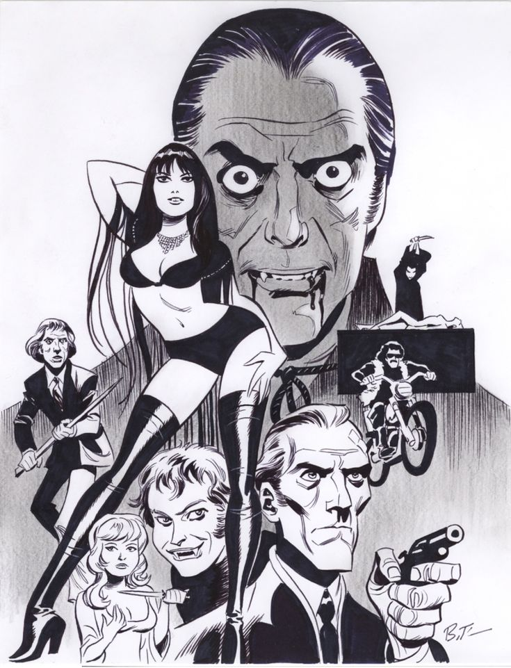 Bruce Timm Tribute to Hammer Films Dracula Comic Art