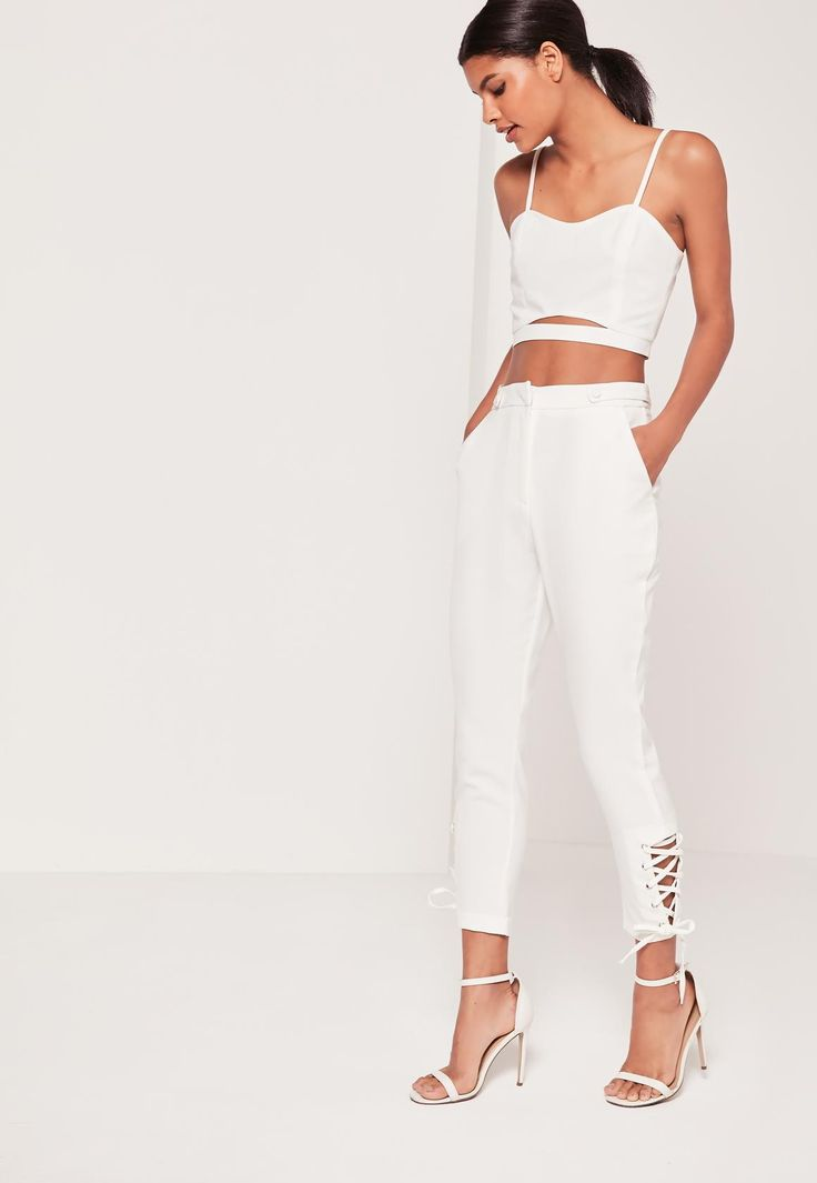 White Eyelet Lace Up Hem Cigarette Trousers - Missguided