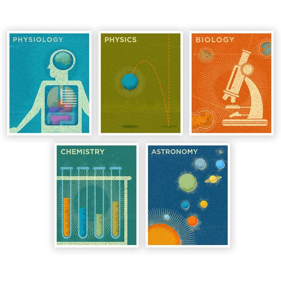 Nursery Decor/Art: Science Series Art Prints Set of 5 -  8 in x 10 in Retro Science Art Prints (by johnwgolden at Etsy.com)