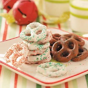 Chocolate-Coated Pretzels Recipe -These pretty pretzels are simple to make and are great gifts any time of the year. —Virginia Chronic, Robinson, Illinois