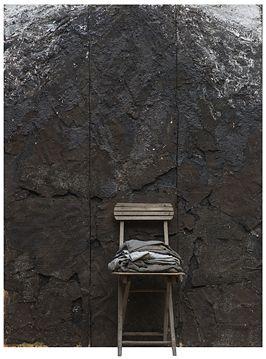 plaque 15, 2013  mixed media: soil, chair clothes, paint / OSB  200x150 cm  by łubkowski