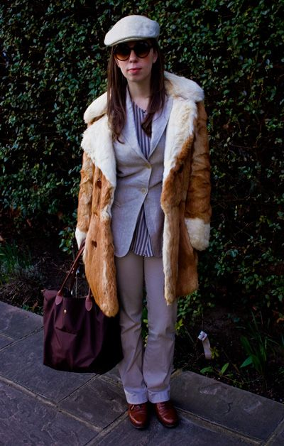 Vintage tweed cap, Striped silk shirt, Nicole Farhi linen blazer, Vintage real rabbit fur coat Cynthia Rowley sunglasses, Longchamp bag, Zara interview trousers, Russel and Bromley brogue shoes