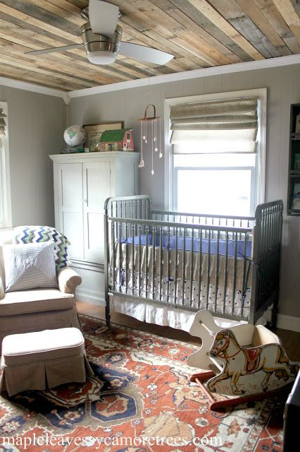 Maple Leaves & Sycamore Trees: Finn's Room: Details. Paint is Benjamin Moore Thunder