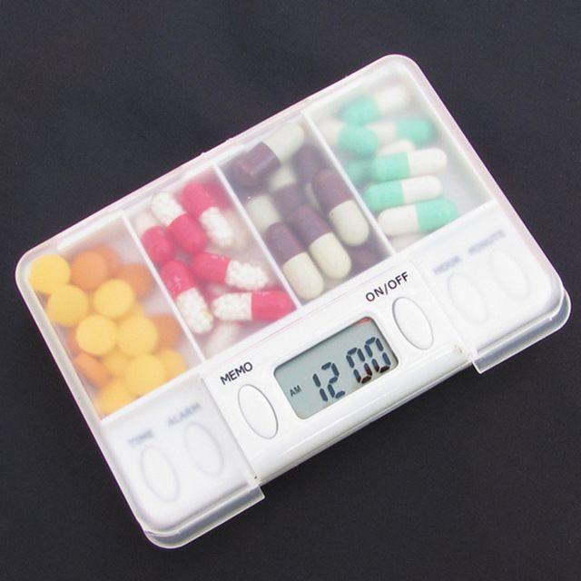 4 Rejilla caja de la píldora de Alarma inteligente cronometraje electrónico Temporizador Recordatorio de Las Píldoras de almacenamiento caja de La Medicina caja de la píldora Organizador de contenedores