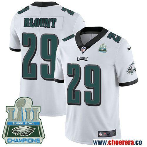 bf385264a Men s Nike Eagles  29 LeGarrette Blount White Super Bowl LII Champions Stitched  NFL Vapor Untouchable Limited Jersey