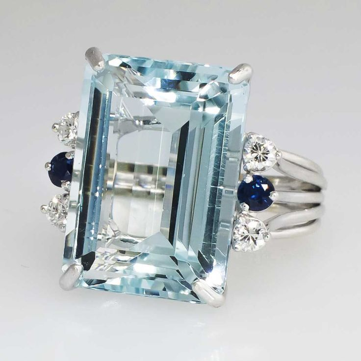 Huge 21.73ct t.w. 1980's Glorious Aquamarine, Diamond & Blue Sapphire Cocktail Ring 14k   Antique & Estate Jewelry   Jewelry Finds