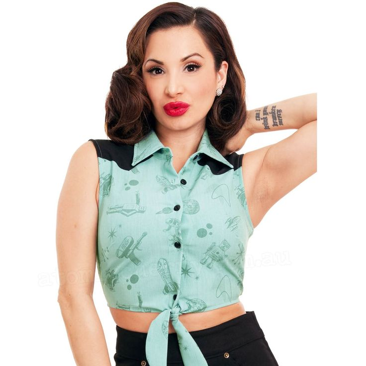 Steady Clothing Space Cadet Crop Top - Teal