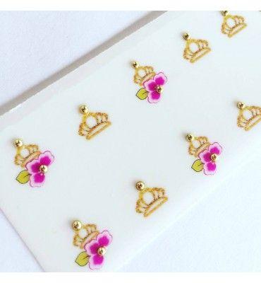 Pélicula de Unha Modelo Flor Rosa com Coroa - Adesivos para Unhas, Películas para Unhas e Esmaltes - Doce Película