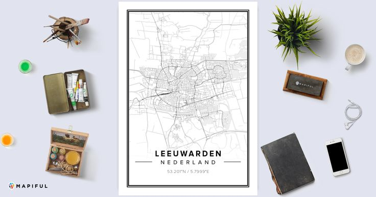 A beautiful poster made with Mapiful called 'Leeuwarden'. With Mapiful you can create, design and order a printed poster of your own customized map.