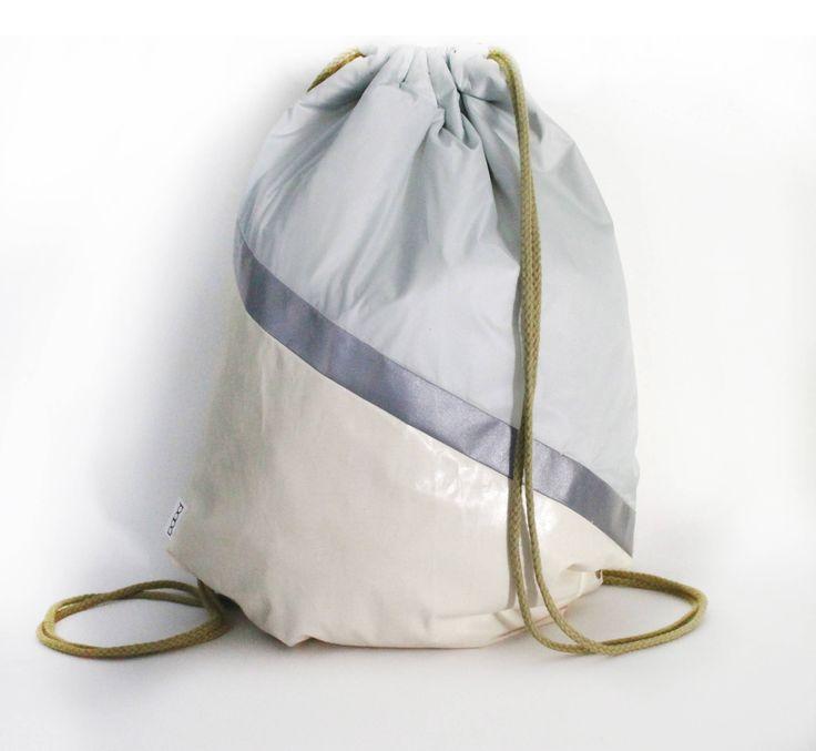 Unique designed  Blue pastel waterproof drawstring bag backpack reflective tape Biking bag by PopaStore on Etsy