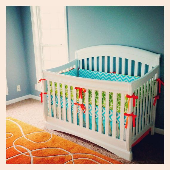 Crib bedding  Aqua Lime Green and Orange by GiggleSixBaby on Etsy, $326.00.. bumper, skirt, and changing pad