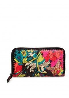 Leather Zip Around Wallet - GEISHA BLOSSUMS by VIDA VIDA IRcPPq7Ix