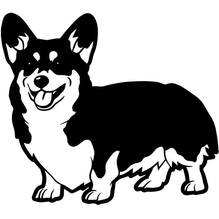 Собака вектор картинки черно-белые