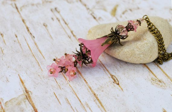 Pink Cascading Flowers Pendant Necklace by EllaHandmadeUnuque
