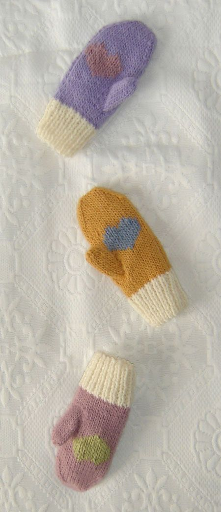Mittens with a heart on the palm - maddy kids Knitting Patterns