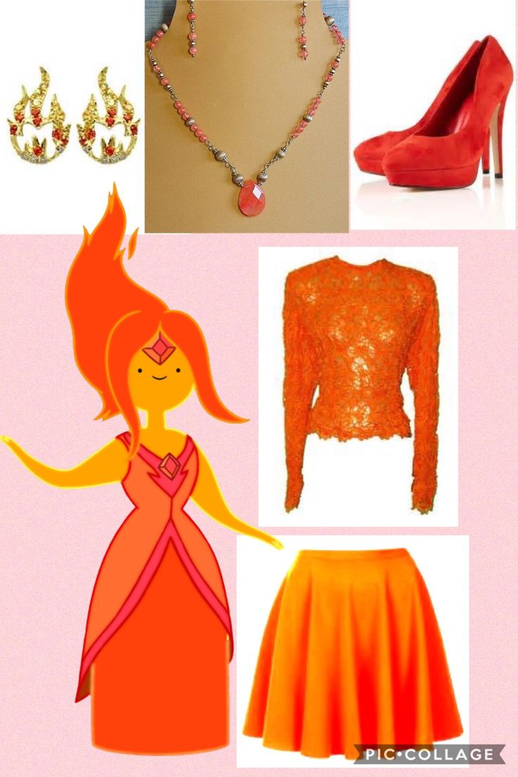 A closet cosplay inspired by Flame Princess from Adventure Time. Adventure Time inspired outfit. I don't own adventure time or any of the companies that made these clothes. I made this on pic collage.