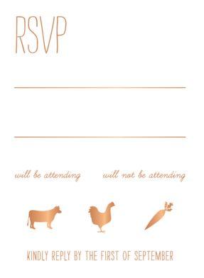 All Foil Homestead Wedding Response Card