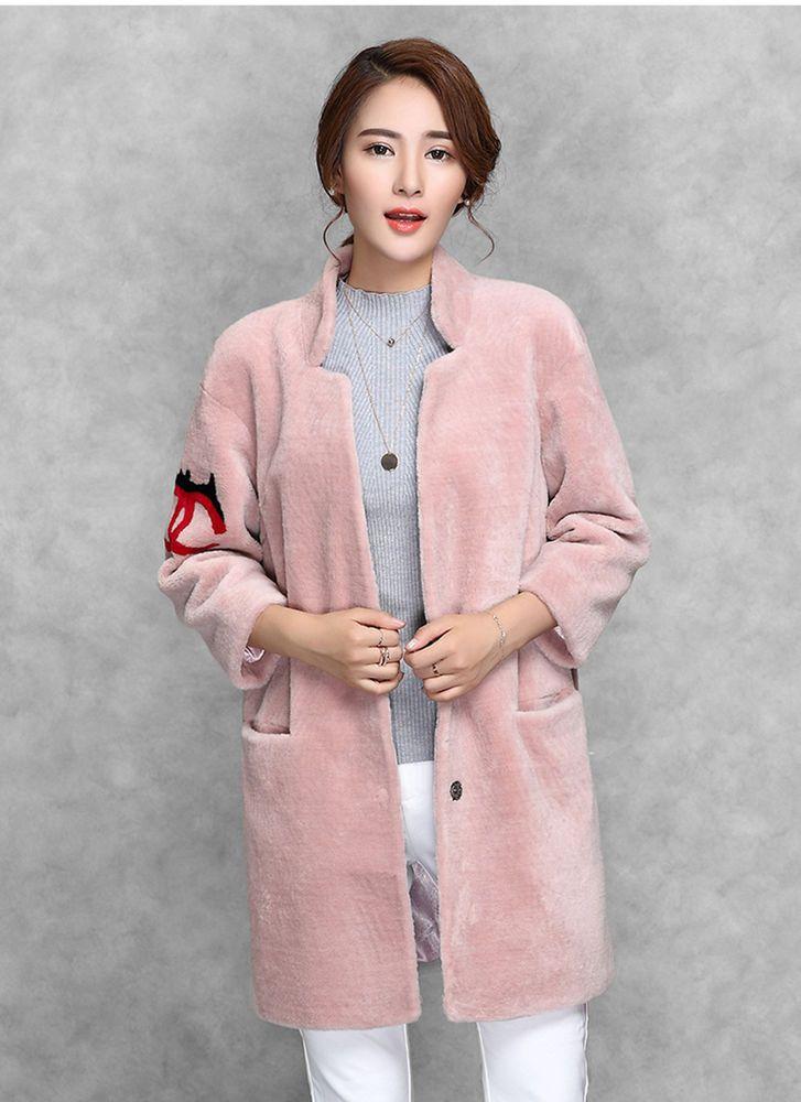 New Real Sheep Lamb Fur Women Long Coat Jacket Overcoat Garment Raglan Sleeve #AUMOUNTAIN #COAT #Outdoor