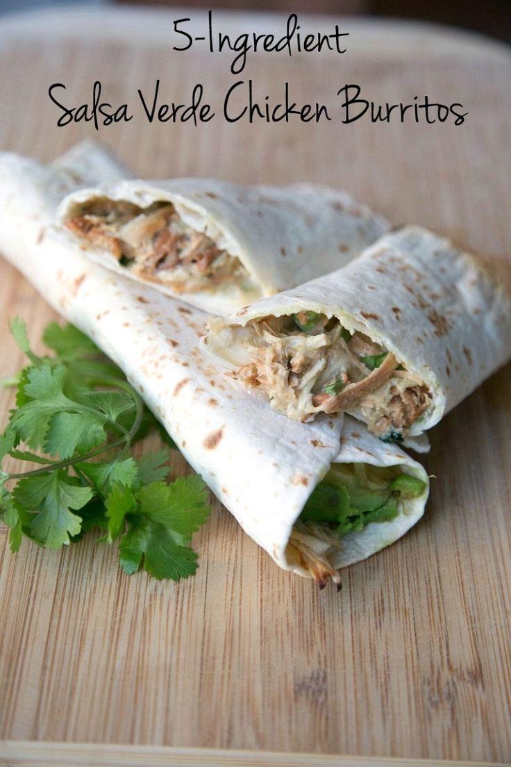 Salsa Verde Chicken Burritos ~ 31 Days of 5-Ingredient Meals from 5DollarDinners.com