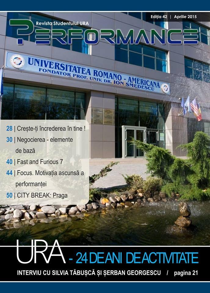 Luna aprilie este cu adevărat specială în cadrul comunității Universității noastre, deoarece pe 17 ale lunii URA împlinește 24 de ani de la înființare. Despre perspectivele și oportunitățile sale de viitor am discutat în paginile 21-27 cu doi reprezentanți URA foarte dragi nouă, dna. Silvia Tăbușcă și dl. Șerban Georgescu.  Acces publicație: http://performance.rau.ro/?page_id=2940
