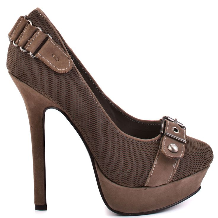 Combat - Taupe... (Naughty Monkey) ...platform heels with buckle