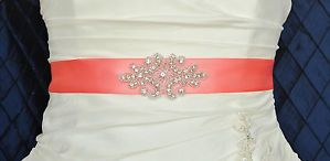 Coral Wedding Dress Sash. I know I'm not getting married for a long time... But still... That's so pretty