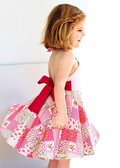 beautiful dress that's ready for a twirl, just add little girl! Size 5 - Apron dress with sash, twirly skirt and embroidered bodice by TedandToot