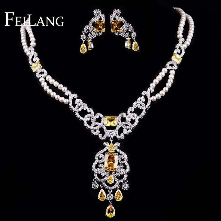 Feilang ослепительная шампанское жемчужно белый позолоченные комплекты ювелирных изделий с стрелка в форме сердца и квадратной формы CZ алмаз ( FSSP144 ) купить на AliExpress