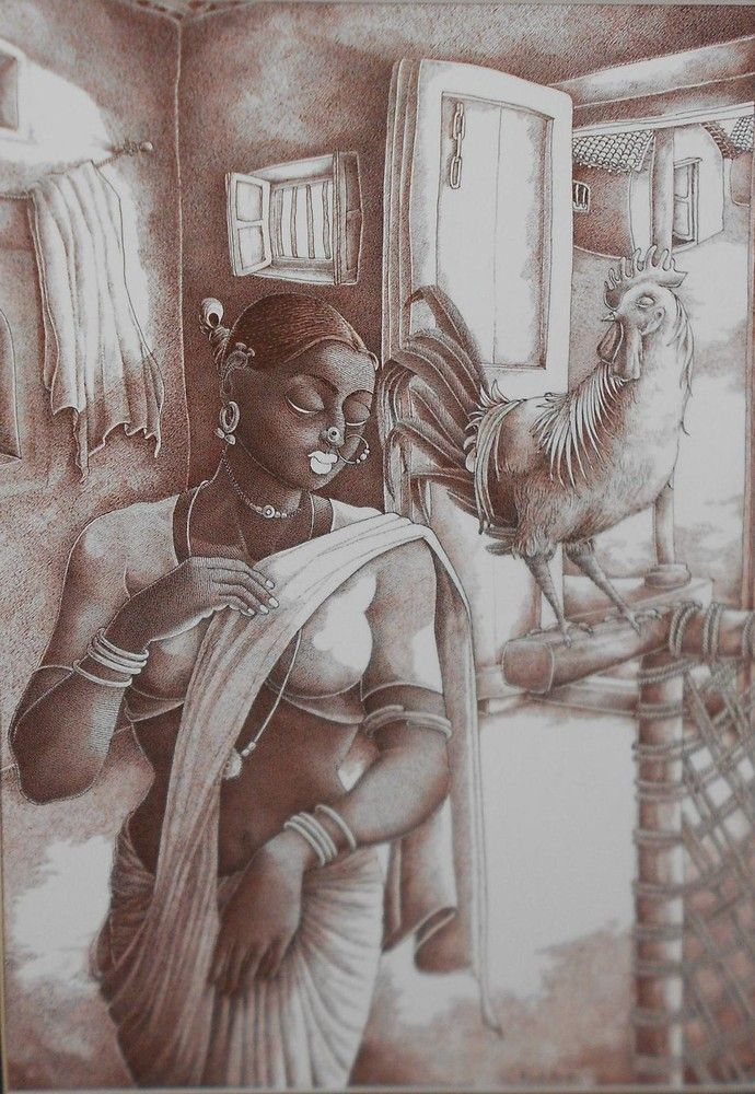 Ink painting by Bairu Raghuram , who was born and brought up in Hyderabad. One of most refined and popular painters in India, Apart from being a freelancer, he also paints for magazines. His paintings are mostly centered on rural Telangana