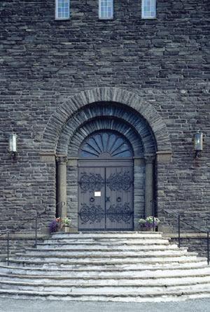 Door to Narvik church, built in 1924, Norway