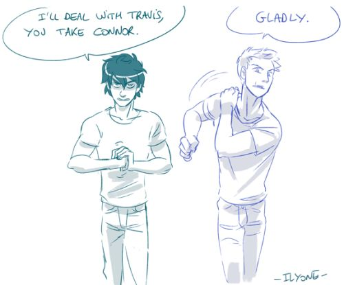 Nico and Will<<<<Um. I think that's either Percy and Jason or Nico and Jason......Will doesn't have hair like that