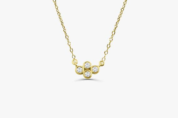 Dainty Gold Diamond Necklace/ 14K Solid Gold Four Stone Diamond Cluster Necklace with Thin Gold Chain/ Graduation Gift Timeless, effortlessly elegant, shimmering. Diamonds truly are a girl's best friend. Treat yourself with a gift that will turn heads wherever you go. This simply