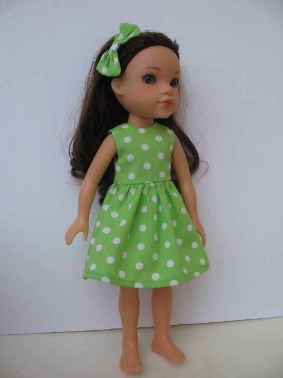 Green & white polka dot dress for H4H doll
