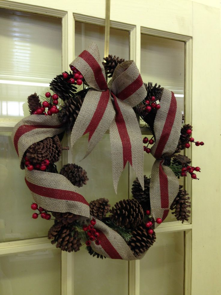 "LolaViola - Wreath:  Burlap and Poinsettia 24"", $38.00 (http://lolaviola.co/wreath-burlap-and-poinsettia-24/)"