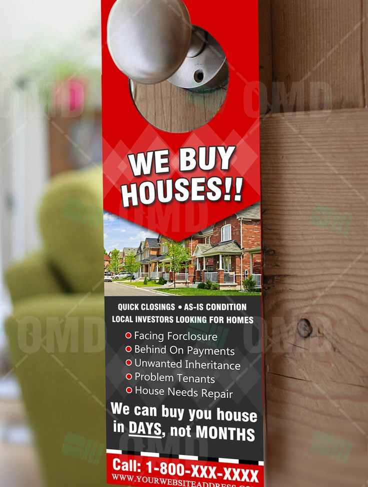Full color We Buy Houses Door Hanger for Real Estate Professionals