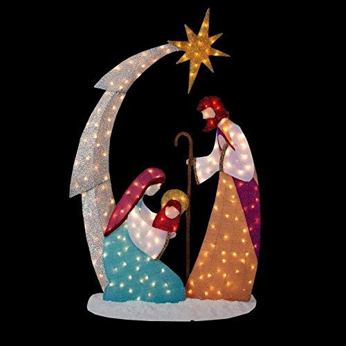 KNLSTORE 6ft Tall Christmas Lighted Nativity Scene Display w/ Holy Family Mary Joseph Baby Jesus Star of Bethlehem Clear Lights Decor Tinsel Outdoor Holiday Yard Decoration KNL Store http://smile.amazon.com/dp/B00FIJH092/ref=cm_sw_r_pi_dp_LHiCwb1Z9H7NK