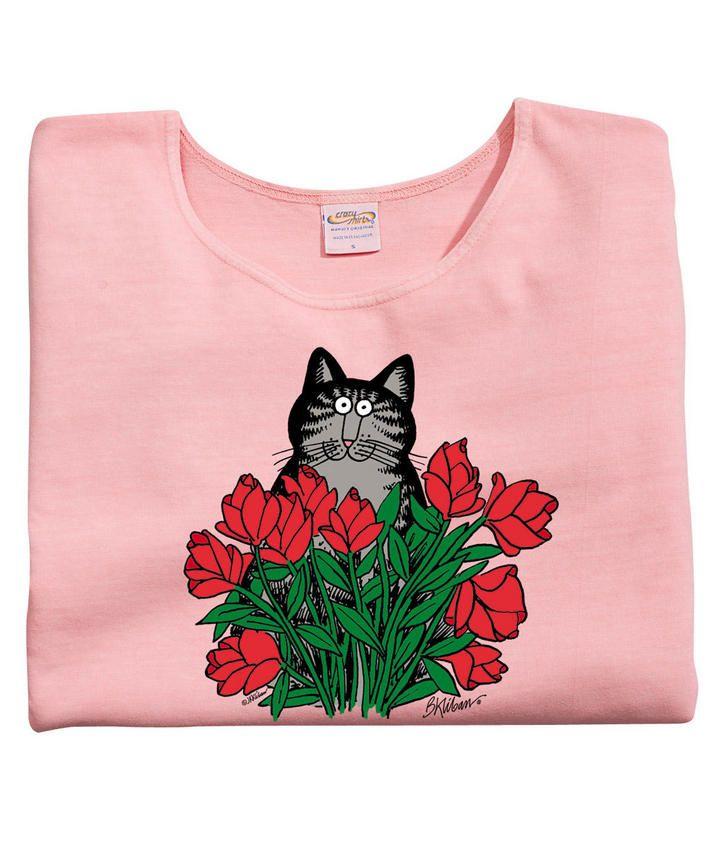 Long Stem Rose Cat - Rose-Dyed Scoop-Neck T-Shirt