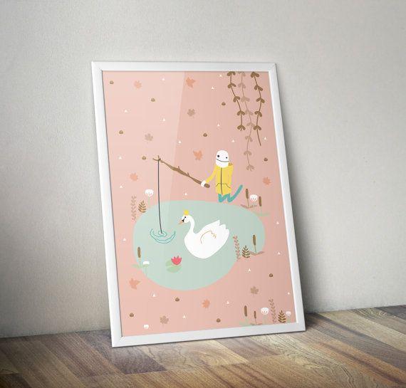 Illustration print Fall fishing boy  Original Zezling by Zezling