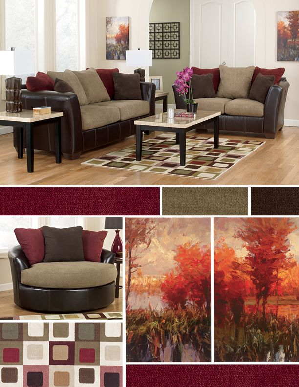 Rich maroon tones for the living room :)
